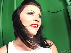 Hot sex from behind with a lipstick girl in an alley tube porn video