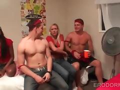 College babes losing at sex games end up fucking at a party