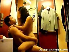 Horny Chinese girlfriend fucks rough