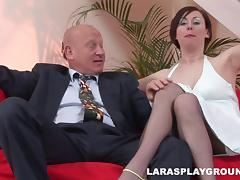 Lara's wet snatch gets invaded by a bald guys throbbing cock