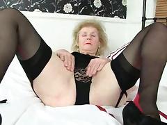 Grandma, Big Tits, British, European, Granny, Masturbation