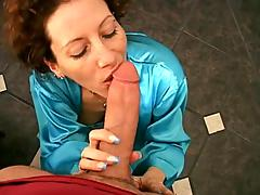 An early morning blowjob from his satin clad wife is hot as hell
