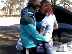 Skinny Redhead babe moans while being screwed in reality outdoor scene