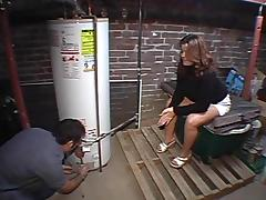 The hung plumber bangs her hard while up in the attic