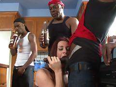 Kinky cougar with a hot ass enjoying an interracial gangbang
