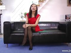 Getting a cock jammed in her after giving a POV blow job