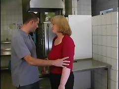 She is face fucked in the kitchen and loving it