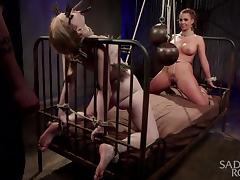 tied, clipped and tickled sluts enjoying bdsm