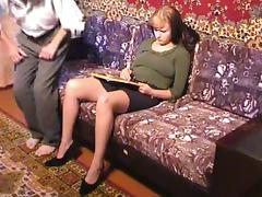 Making room for an older man's cock by tearing pantyhose