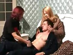 Group sex between a blonde, a brunette and a lucky dude