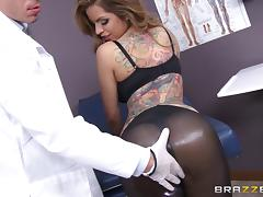 This doctor helps his hot patient by putting his cock in her ass