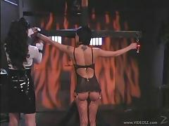 Wild babe with a fetish spanking her slave in BDSM sex
