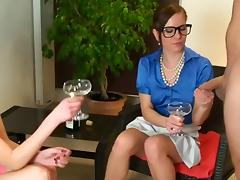 German golden-haired drinks champagne with her ally when her? porn tube video