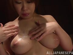 Covering a hot and busty Japanese slut with their cum tube porn video