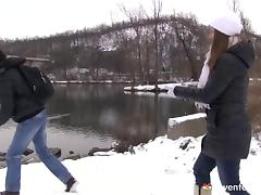 Snow day fun with a big breasted teen ends in great sex