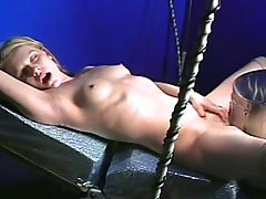 Charming solo model with natural tits getting the pleasure of sex machine