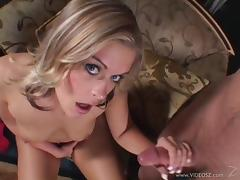 Angelic pornstar with natural tits pose lovely while giving out stunning blowjob