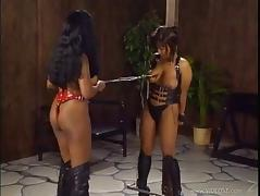 Affectionate slaved cowgirl with natural tits getting tortured in bdsm sex