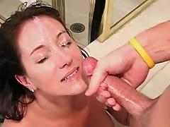 He joins the horny milf in the bathtub for great sex