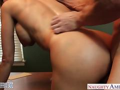 Stockings office babe Brandi Love gets nailed