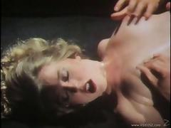 Beautiful blonde with an awesome body playing with her hairy pussy