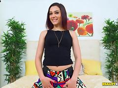 Alluring Latina cuties take turns riding a throbbing cock hardcore