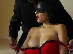 Kinky milf with fake tits gets her shaved pussy fingered then stroked hardcore