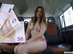 Picking up a brunette hottie and fucking her in the van tube porn video