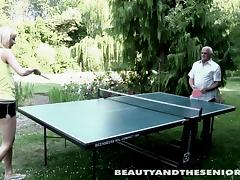 After smashing a perfect shot at the table lady is tempted to see if he will nail her pussy with the same perfection