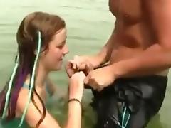 Nude Beach - Cute Redhead girl Suck Fuck & Show tube porn video