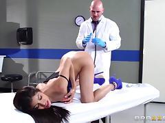 Dainty Latina pornstar in high heels seduces then fucks her doctor hardcore