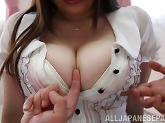 Chubby Asian chick with fabulous juggs enjoying a hardcore threesome