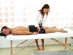 A very skilled masseuse rubs him down then lets him pound her