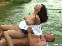 Big tits cougar sucks then rides a big dong outdoors