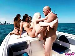 Hot teens on a open sea boat party