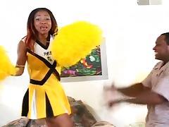 Ebony cheerleader sucks and fucks chubby black guy
