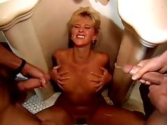 Alexa Parks, Buddy Love, Peter North in two vintageporn studs cum on bimbo's naked boobs