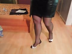 Leggings, Amateur, Leather, Nylon, Skirt, Stockings