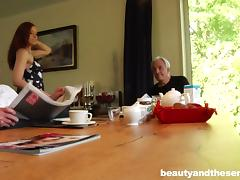Slut joins two old men for breakfast and shows them a good time