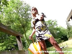 Yoga with a wrinkled old guy gets the teen horny for outdoor sex tube porn video