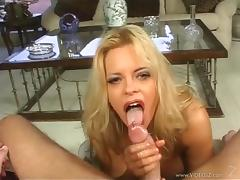 Alluring blonde with long hair and big tits in high heels giving fantastic handjob in reality shoot