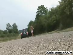Sassy amateur has her bald snatch drilled in the car