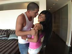 Vivacious porn star with long dark hair enjoying a hardcore cowgirl style fuck tube porn video