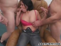 Amateur homemade gangbang with 2 hot cum covered sluts tube porn video