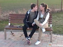 Sex with his leggy teen girlfriend is the hottest thing ever