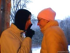 Girlfriend with glasses gives outdoor blowjob on a snowy day tube porn video