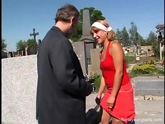 An old guy picks up and bangs a hot teen chick in a graveyard