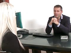 Lovely blonde doll gets anally rammed in the office