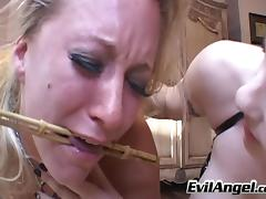 Blonde lesbian with big tits being tortured and vibrator fucked by a stranger