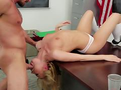 Naughty blonde doll lets her teacher taste her bald pussy in a reality shoot